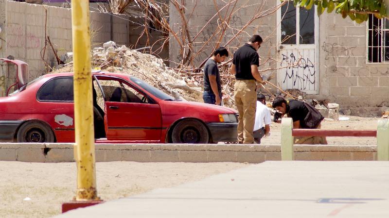 La escena del crimen donde fue ejecutado el narcomenudista Angel de Jesús Barriga Castro.